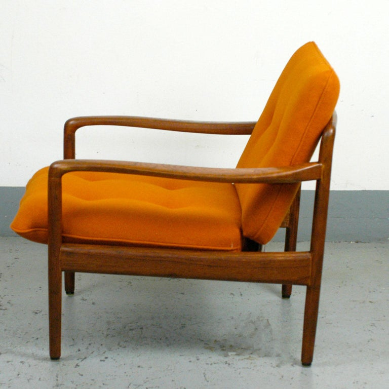 Midcentury Orange Teak Easy Chair by Knoll Antimott, Germany 2