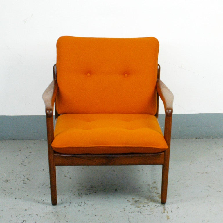 Midcentury Orange Teak Easy Chair by Knoll Antimott, Germany 3