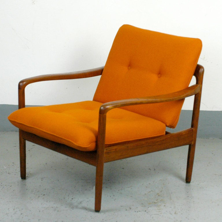 Midcentury Orange Teak Easy Chair by Knoll Antimott, Germany 4