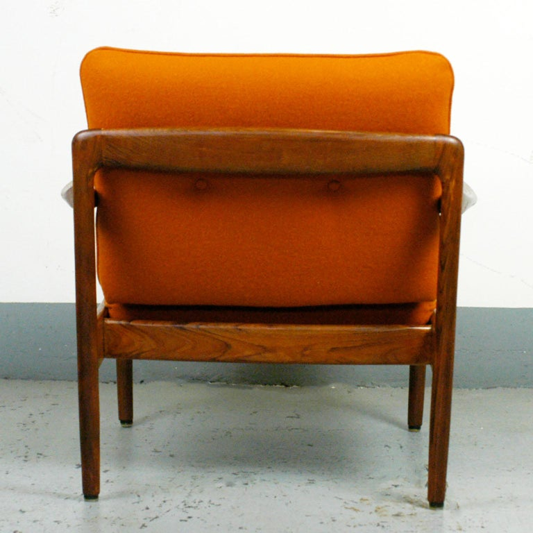 Midcentury Orange Teak Easy Chair by Knoll Antimott, Germany 5