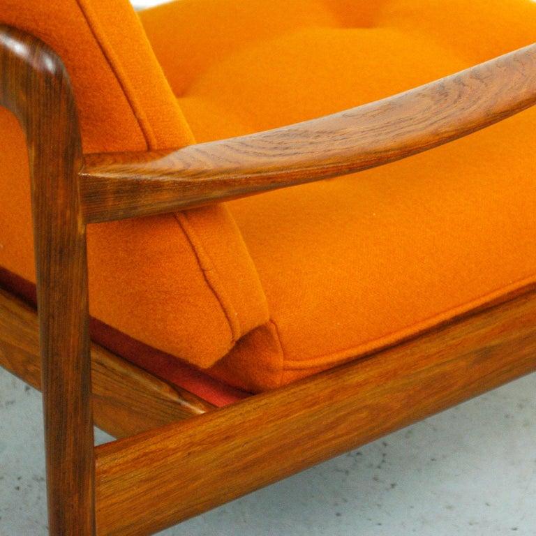 Midcentury Orange Teak Easy Chair by Knoll Antimott, Germany 6