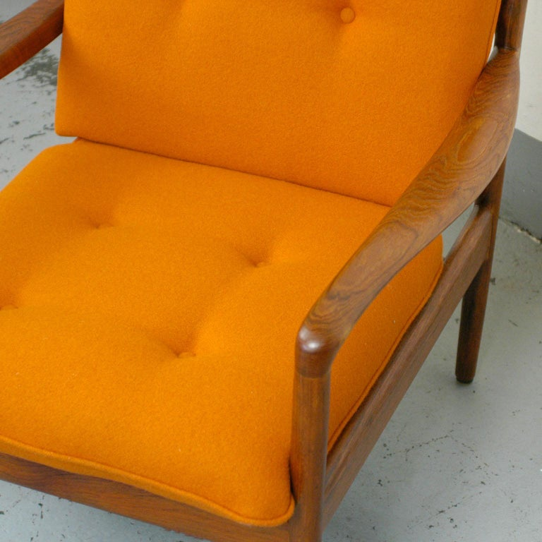 Midcentury Orange Teak Easy Chair by Knoll Antimott, Germany 7