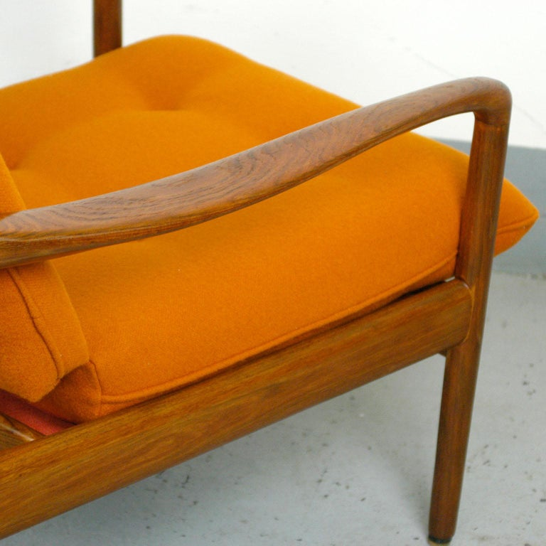 Midcentury Orange Teak Easy Chair by Knoll Antimott, Germany 8