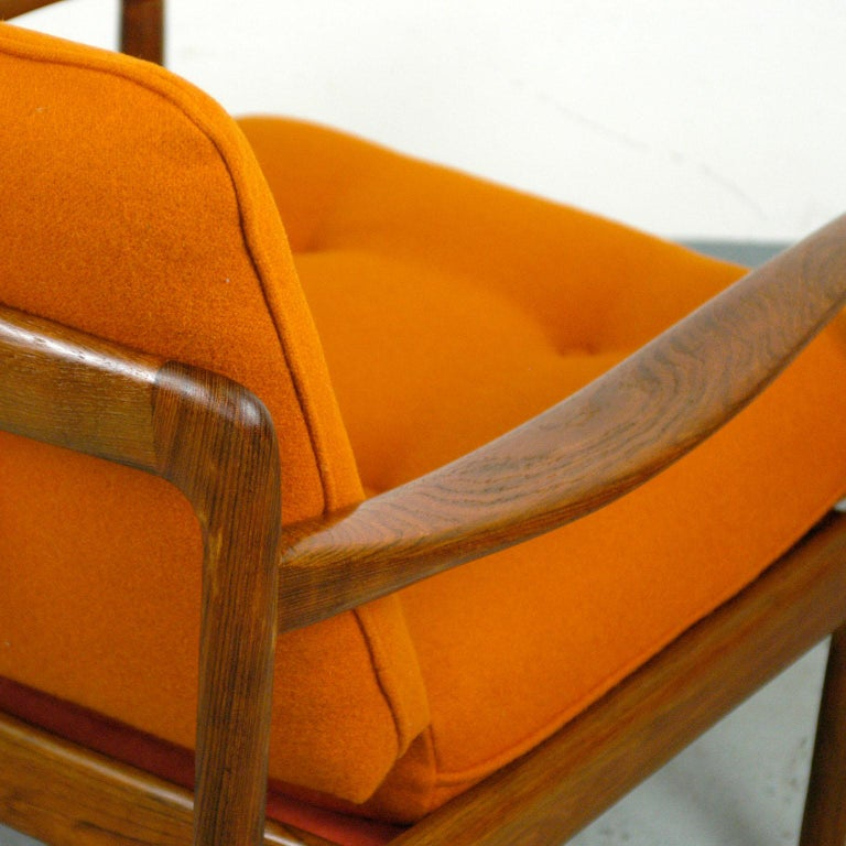 Midcentury Orange Teak Easy Chair by Knoll Antimott, Germany 9