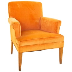 Mid Century Orange Velvet Lounge Chair