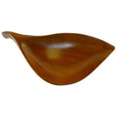 Midcentury Organic Bowl by Emil Milan in Benin Teak