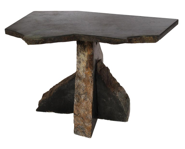 Midcentury Organic Modern Black Soapstone Live Edge Marble Side Or End Table At 1stdibs