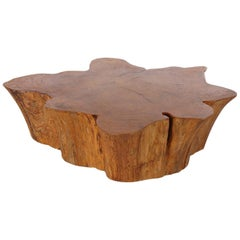 Midcentury Organic Modern Live Edge Cocktail Table, Studio Made on Casters