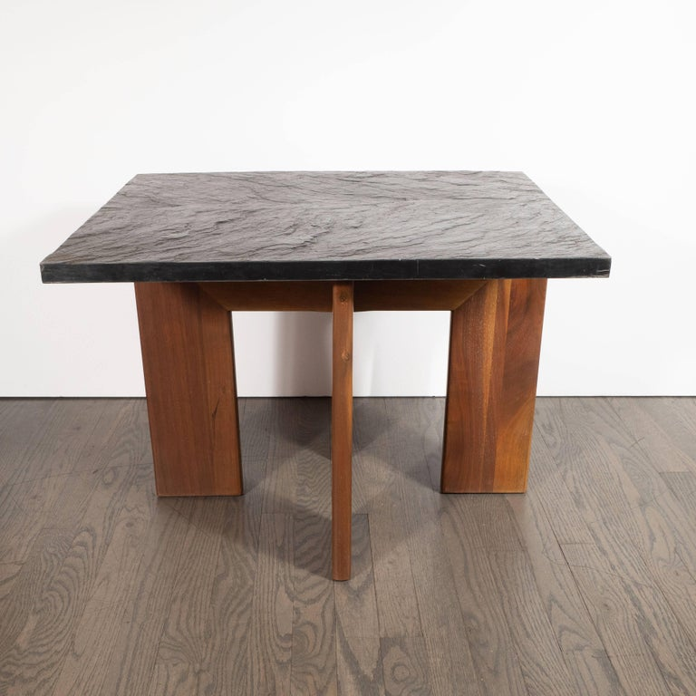 Midcentury Organic Modern Slate & Walnut Occasional Table by Adrian Pearsall For Sale 4