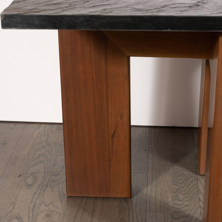 Midcentury Organic Modern Slate & Walnut Occasional Table by Adrian Pearsall For Sale 5