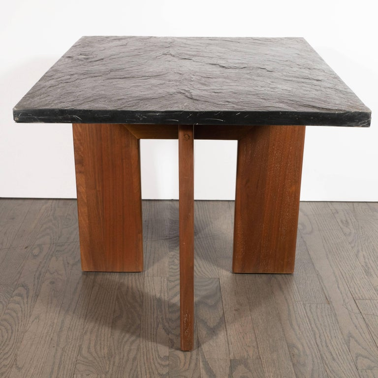Midcentury Organic Modern Slate & Walnut Occasional Table by Adrian Pearsall For Sale 6