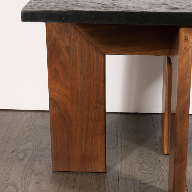 Mid-Century Modern Midcentury Organic Modern Slate & Walnut Occasional Table by Adrian Pearsall For Sale