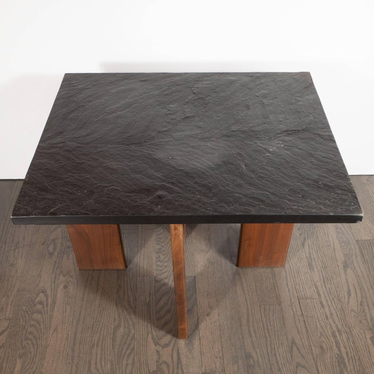 North American Midcentury Organic Modern Slate & Walnut Occasional Table by Adrian Pearsall For Sale