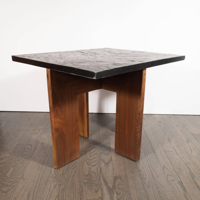 Midcentury Organic Modern Slate & Walnut Occasional Table by Adrian Pearsall For Sale 1