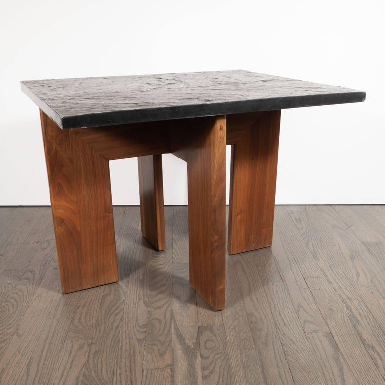 Midcentury Organic Modern Slate & Walnut Occasional Table by Adrian Pearsall For Sale 2