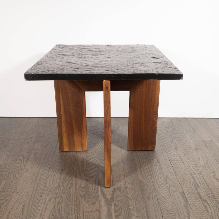 Midcentury Organic Modern Slate & Walnut Occasional Table by Adrian Pearsall For Sale 3