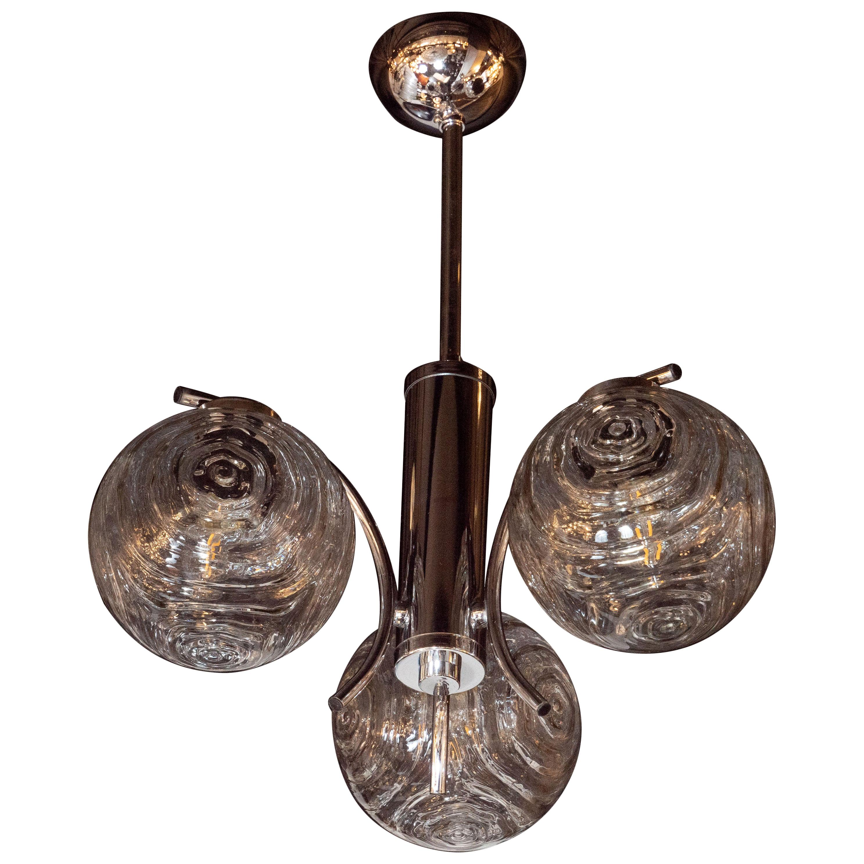 Midcentury Organic Modern Smoked Clear & Textured Three Globe Chrome Chandelier