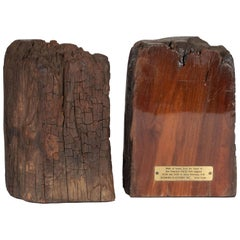 Midcentury Organic Schmieg & Kotzian Caobo Bookends from 16th Century Beams