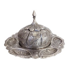 Midcentury Oriental Repousse Silver Round Plate with Dome Cover