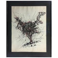"Midcentury Original Drawing/Essay ""Eppreuve d'Artist"" by Gerard Eppele"