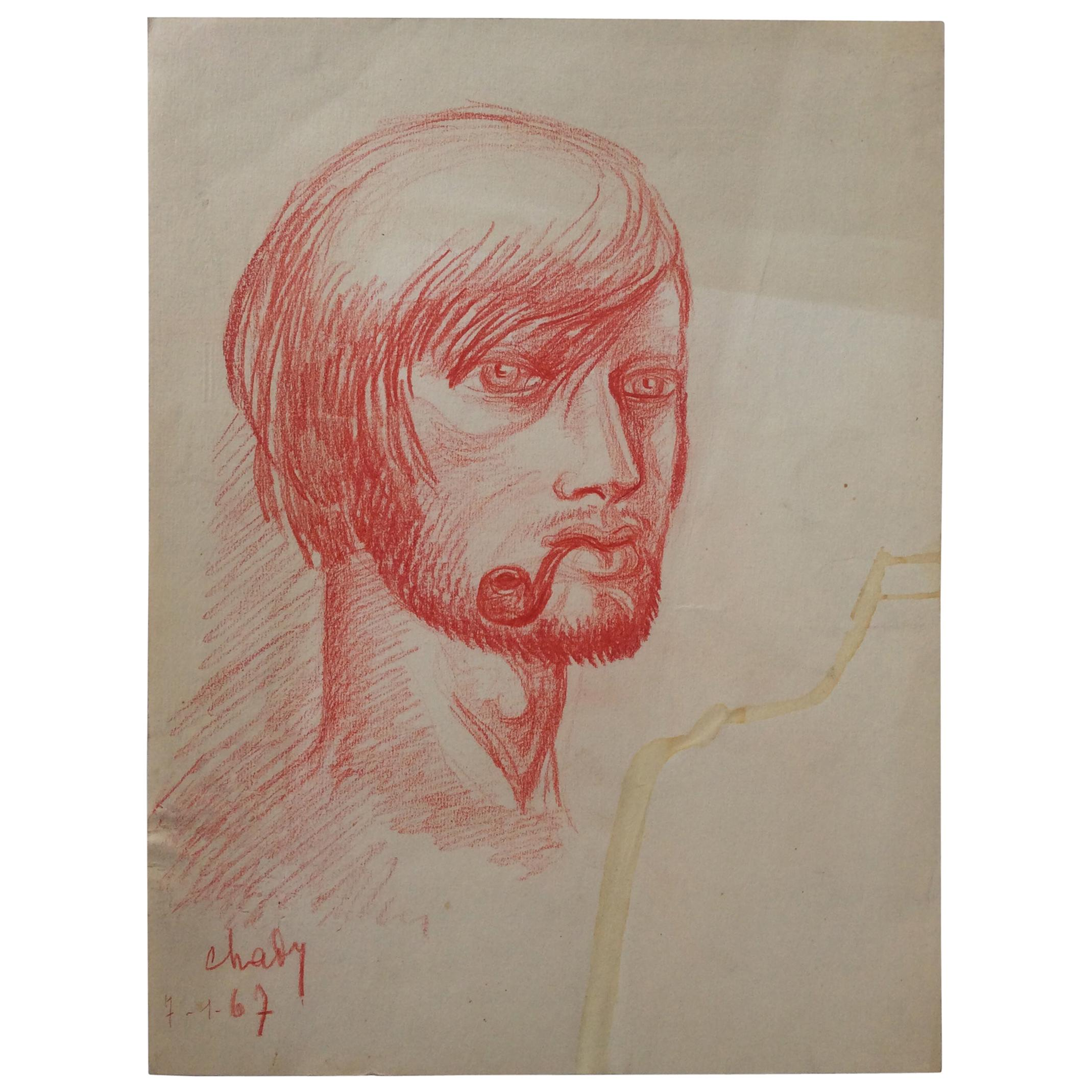 Midcentury Original Portrait Drawing Signed Chady, Dated 1967