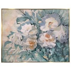 Midcentury Original Lee Reynolds Signed Large Oil Painting White Flowers