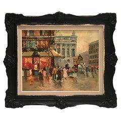Midcentury Original Oil on Canvas Painting Paris Street Scene by, N. Proudlock