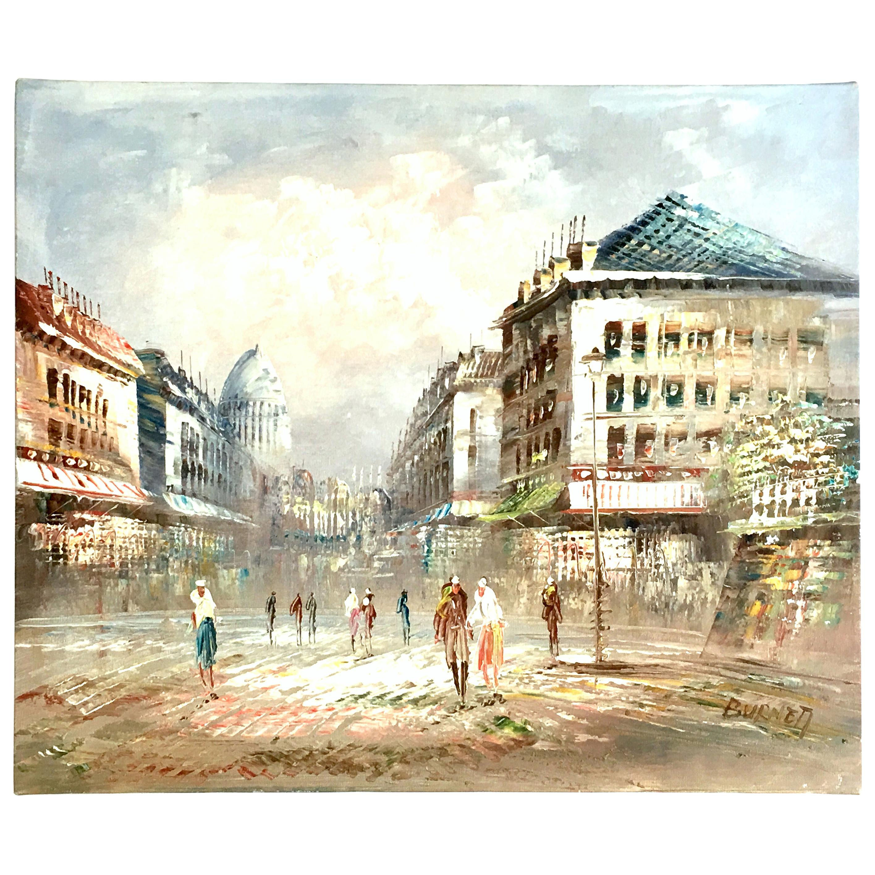 20th Century Original Oil on Canvas Paris Street Scene Painting by C. Burnett