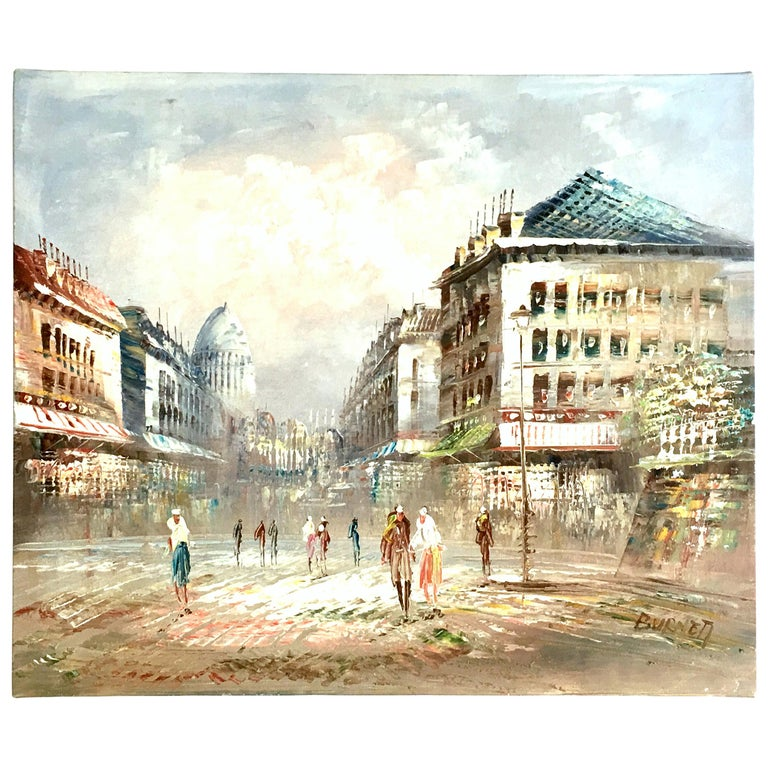 20th Century Original Oil on Canvas Paris Street Scene Painting by C. Burnett For Sale
