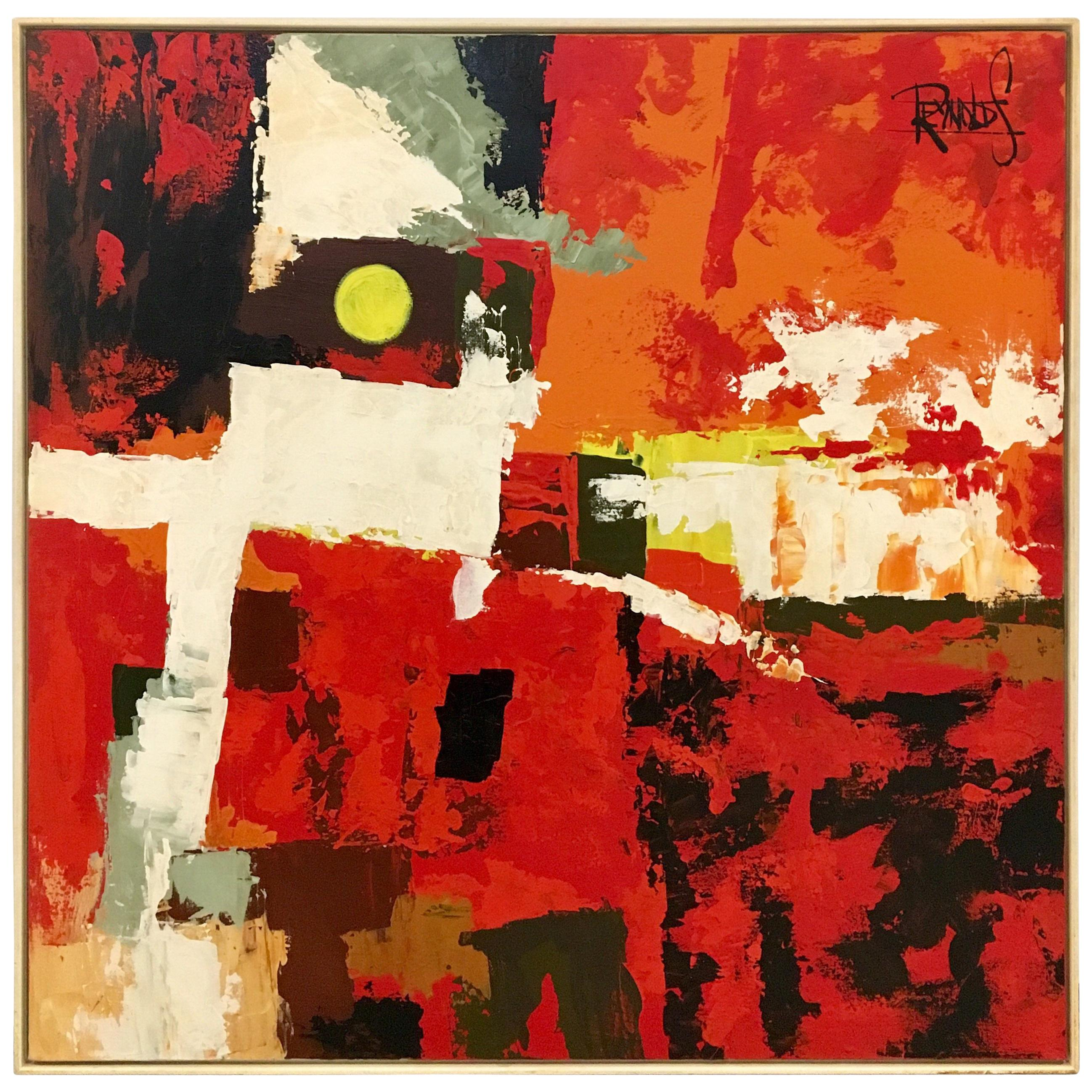 Midcentury Original Oil Red Abstract Oil on Canvas Signed Reynolds