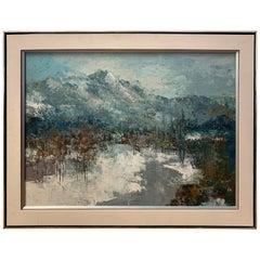 Midcentury Original Signed Barton Winter Landscape Oil Painting
