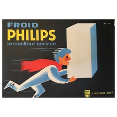 Midcentury Original Vintage French Poster, 'Froid Philips' by Darigo