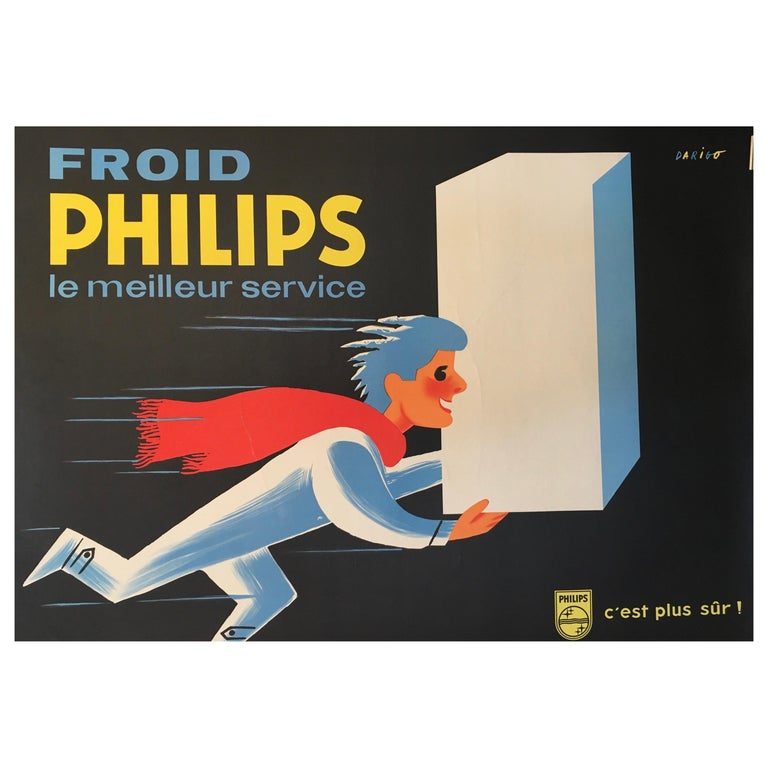 Midcentury Original Vintage French Poster, 'Froid Philips' by Darigo For Sale