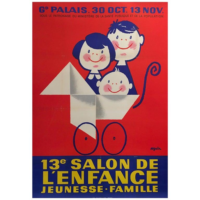 Midcentury Original Vintage French Poster, 'Salon De L'enfance' by Seguin For Sale