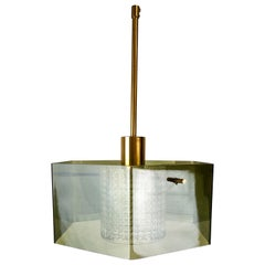 Midcentury Orrefors Carl Fagerlund Ceiling Light with Hand Blown Green Glass