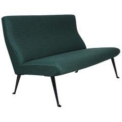 Midcentury Osvaldo Borsani Sofa, Dark Green, Tecno Milano, Italy, 1954