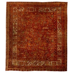 Midcentury Oushak Handmade Wool Rug in Dark Red and Yellow
