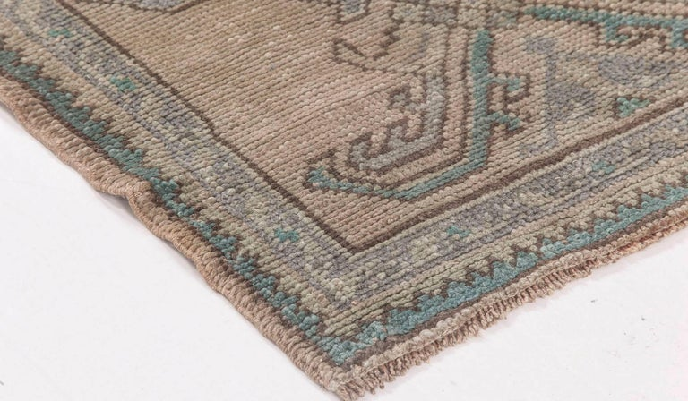 Midcentury Oushak Wool Runner 'Fragment' in Aquamarine and Beige In Good Condition For Sale In New York, NY