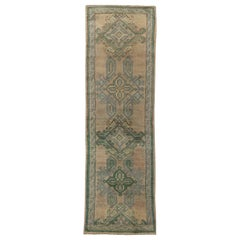 Midcentury Oushak Wool Runner 'Fragment' in Aquamarine and Beige