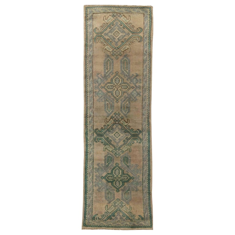 Midcentury Oushak Wool Runner 'Fragment' in Aquamarine and Beige For Sale
