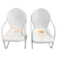Midcentury Out Door Chairs in Old White Paint, Pair