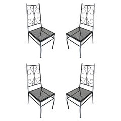 Midcentury Outdoor/Patio Side Chair with Scrolling Pattern, Set of Four