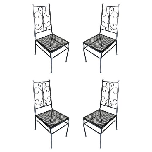 Cool Midcentury Outdoor Patio Side Chair With Scrolling Pattern Set Of Four Machost Co Dining Chair Design Ideas Machostcouk