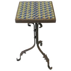 Midcentury Outdoor Patio Side Table with Geometric Ceramic Top