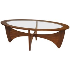 Midcentury Oval 'Astro' Coffee Table with Glass Top by G-Plan, 1960