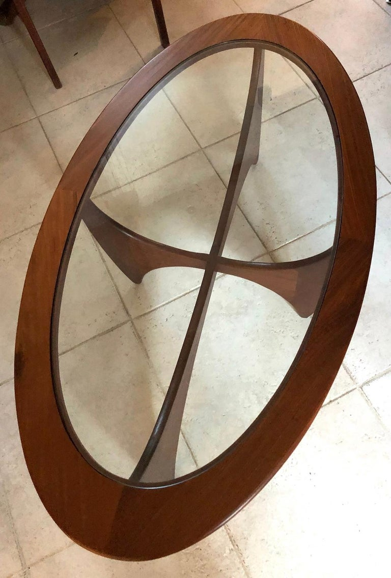 Midcentury Oval 'Astro' Teak Coffee Table with Glass Top ...