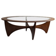 Midcentury Oval 'Astro' Teak Coffee Table with Glass Top by G-Plan, 1960s