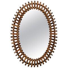 Midcentury Oval Bamboo Framed Mirror