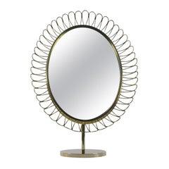 Midcentury Oval Brass Table Mirror Josef Frank Svenskt Tenn Style, 1950s