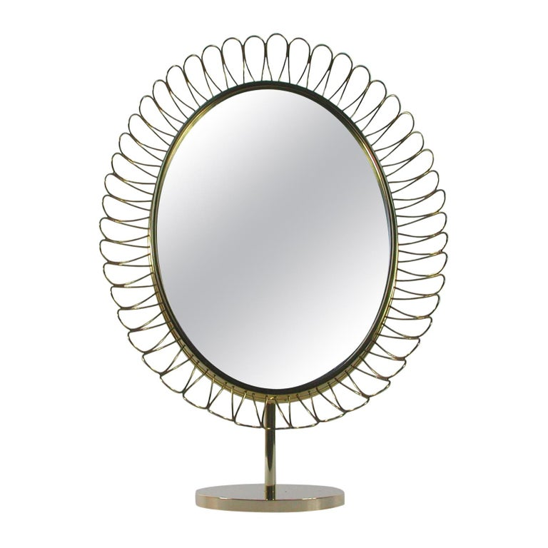 Midcentury Oval Brass Table Mirror Josef Frank Svenskt Tenn Style, 1950s For Sale